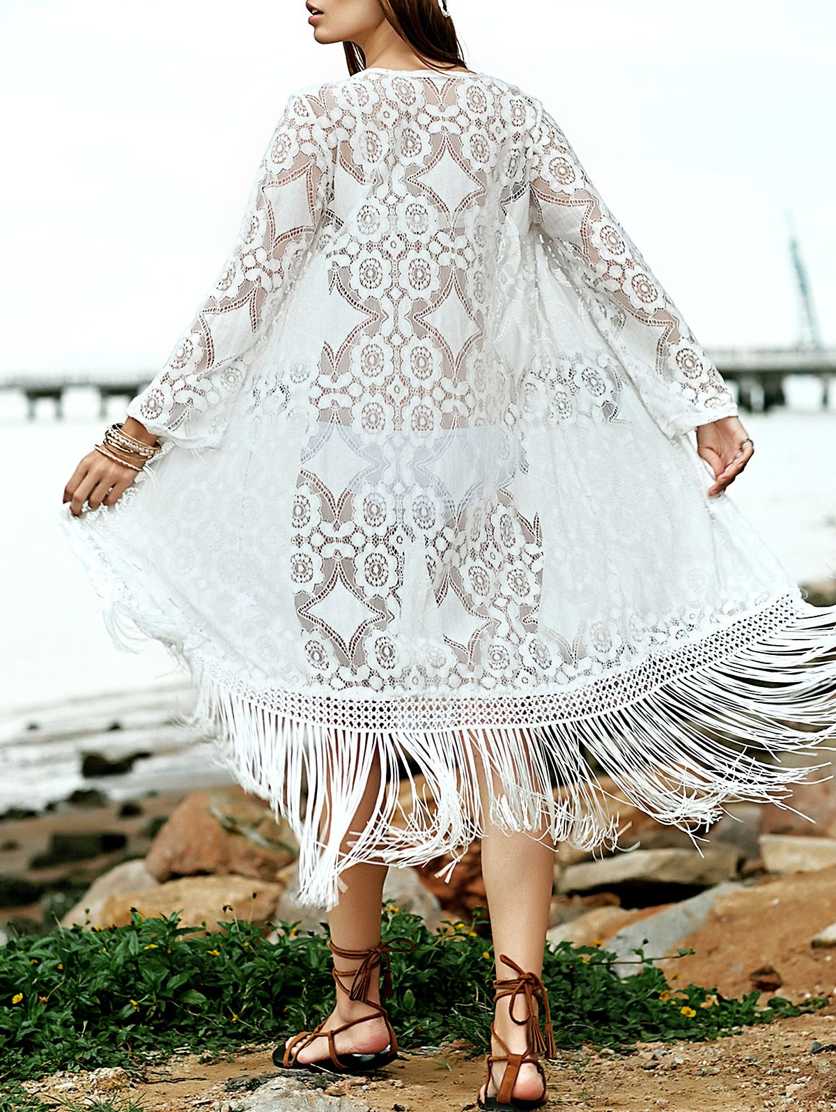 Solid Color Fringe Collarless Long Sleeve Lace Cover Up