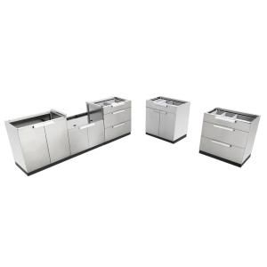 Newage Products Stainless Steel 5 Piece 185 In W X 36 5 In H X 24 In D Outdoor Kitchen Cabinet Set Without Counter Tops 65081 Outdoor Kitchen Cabinets Kitchen Cabinets Backyard Storage