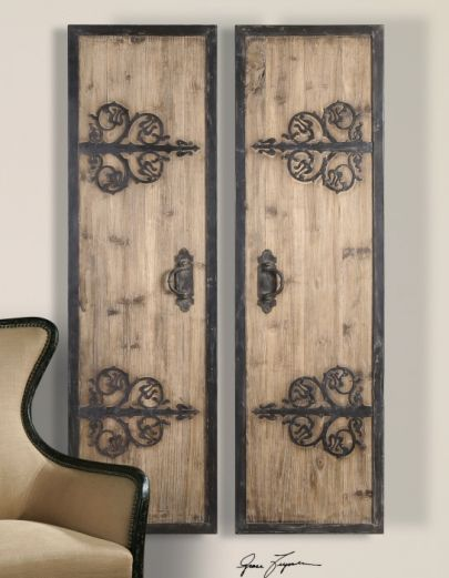 rustic panels with wrought iron details.