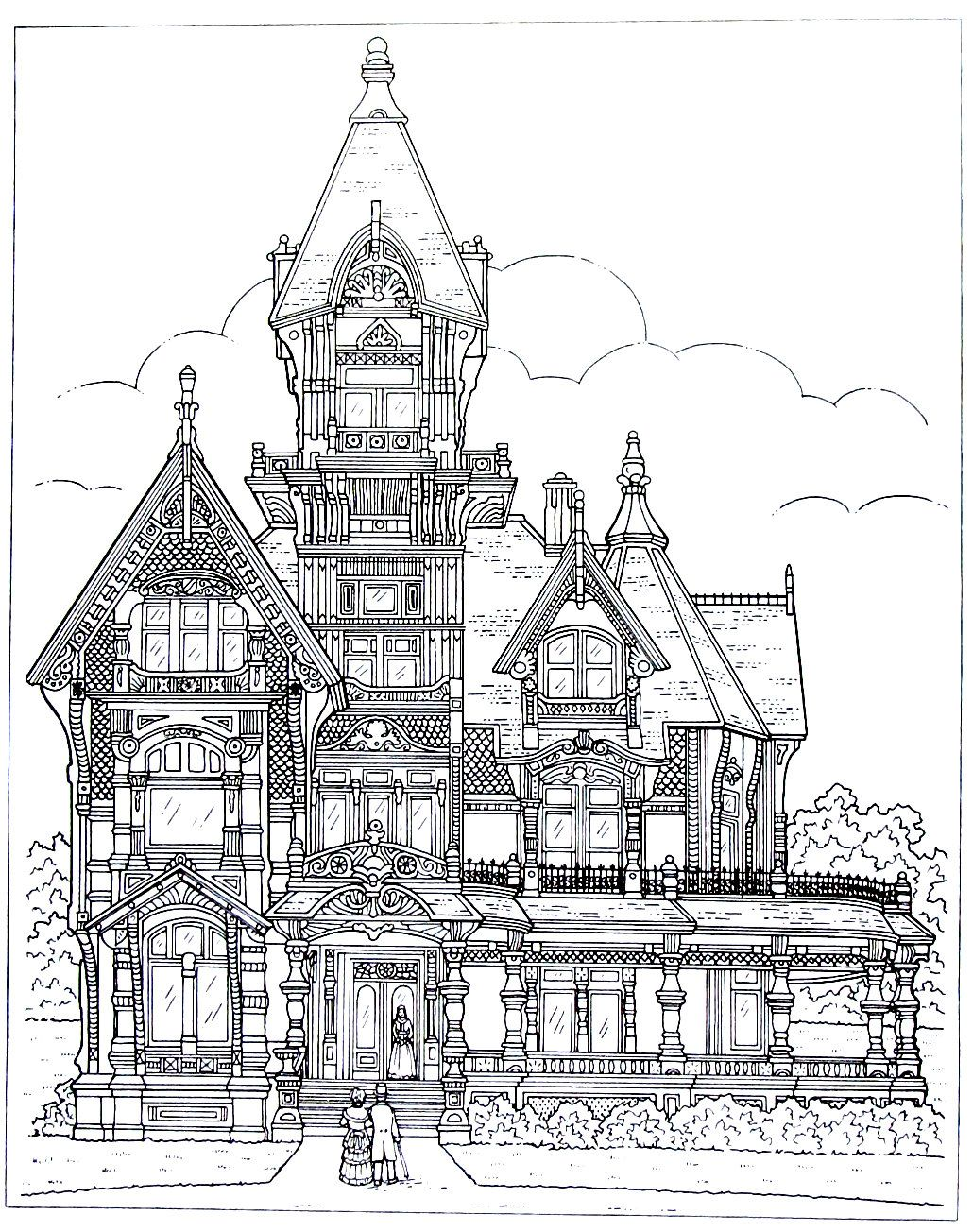 House Drawing Color: Victorian House Printable Coloring Book Page. The Carson