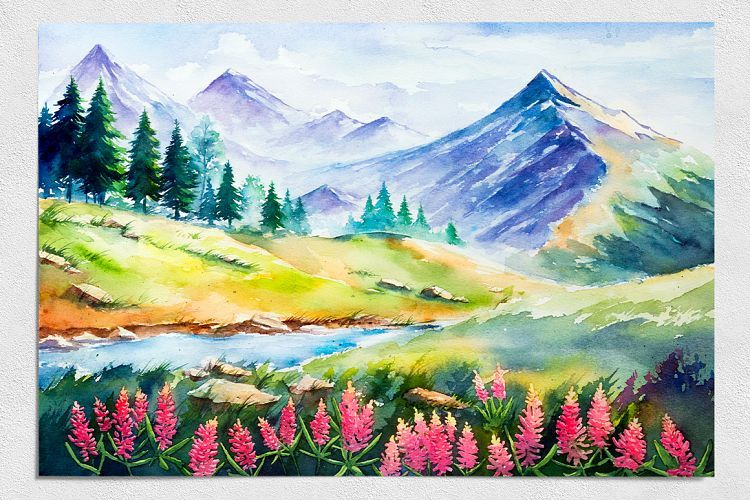 Spring Landscapes Watercolor Example Image 6 Landscape Drawings Landscape Paintings Spring Landscape