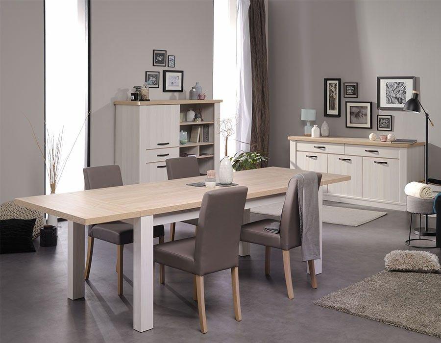 Table à manger contemporaine couleur bois blanc AMBROISE salle à