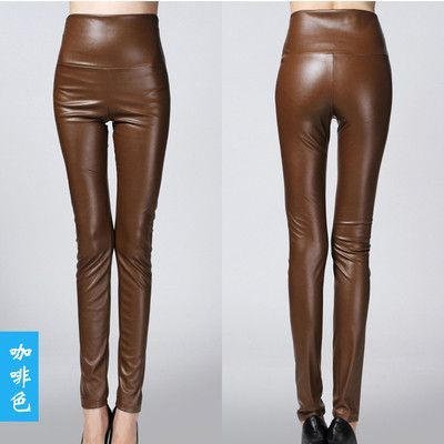 2017 spring women ladies long faux PU Leather high waist stretch Pants female elastic stretch Slim women pencil skinny trousers