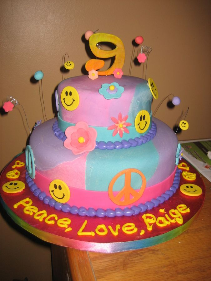 Peace Birthday Cakes Pictures Peace And Love Tye Dye Cake