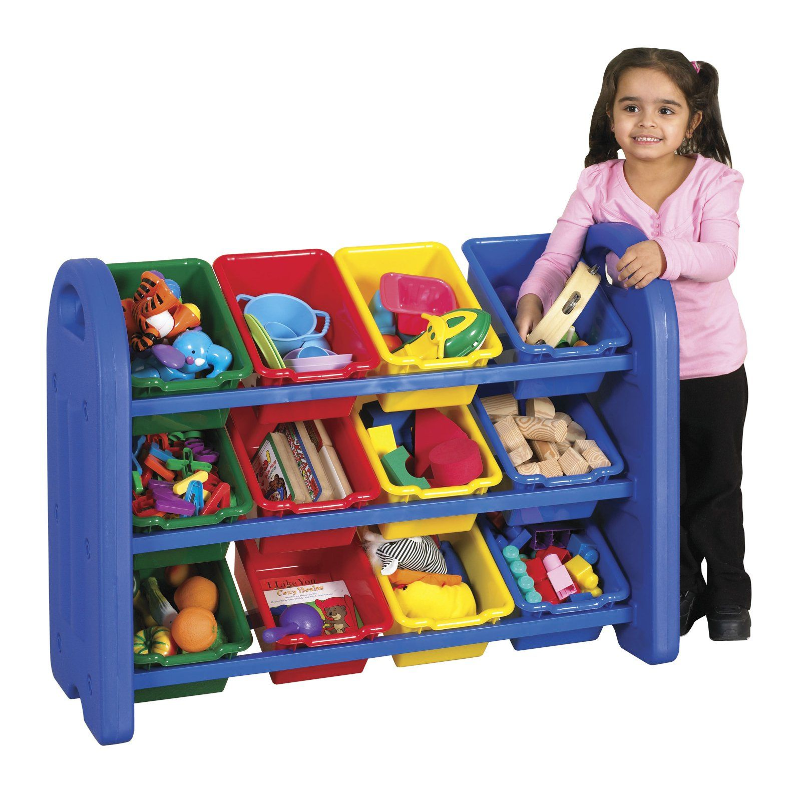 Ecr4kids 3 Tier Toy Storage Organizer 12 Bins Blue Red Yellow Green Kids Storage Bins Kids Storage