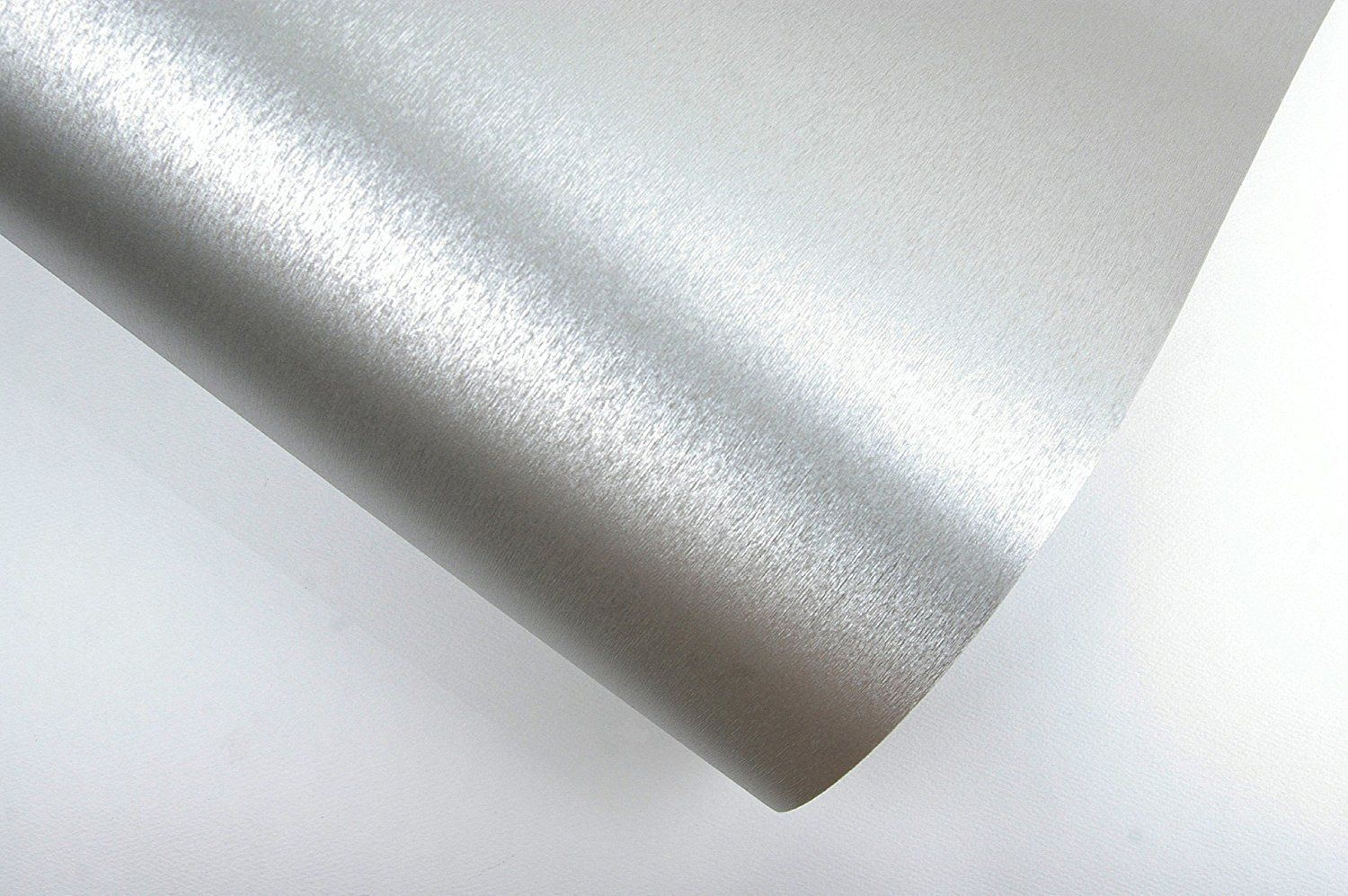 brushed metal look contact paper film vinyl self adhesive backing vinyl self adhesive backing waterproof metallic gloss shelf liner peel and stick wall decal for covering counter top kitchen cabinet x inch silver