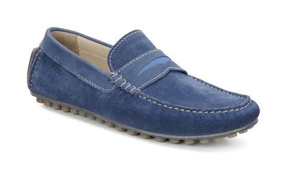 Ecco Dynamic Moc Denim Blue Denim Blue Bermuda Blue Dress Shoes Men Shoes Loafers Men