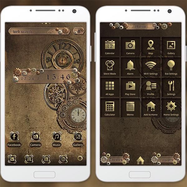 """Steampunk"" 8/4 The retro-cool brass clock and gears are sure to invoke thoughts of a steampunk fantasy if you bring this theme to your smartphone! http://app.android.atm-plushome.com/app.php/app/themeDetail?material_id=1309&rf=pinterest #wallpaper #design #icon #beautiful #plushome #homescreen #widget #deco"