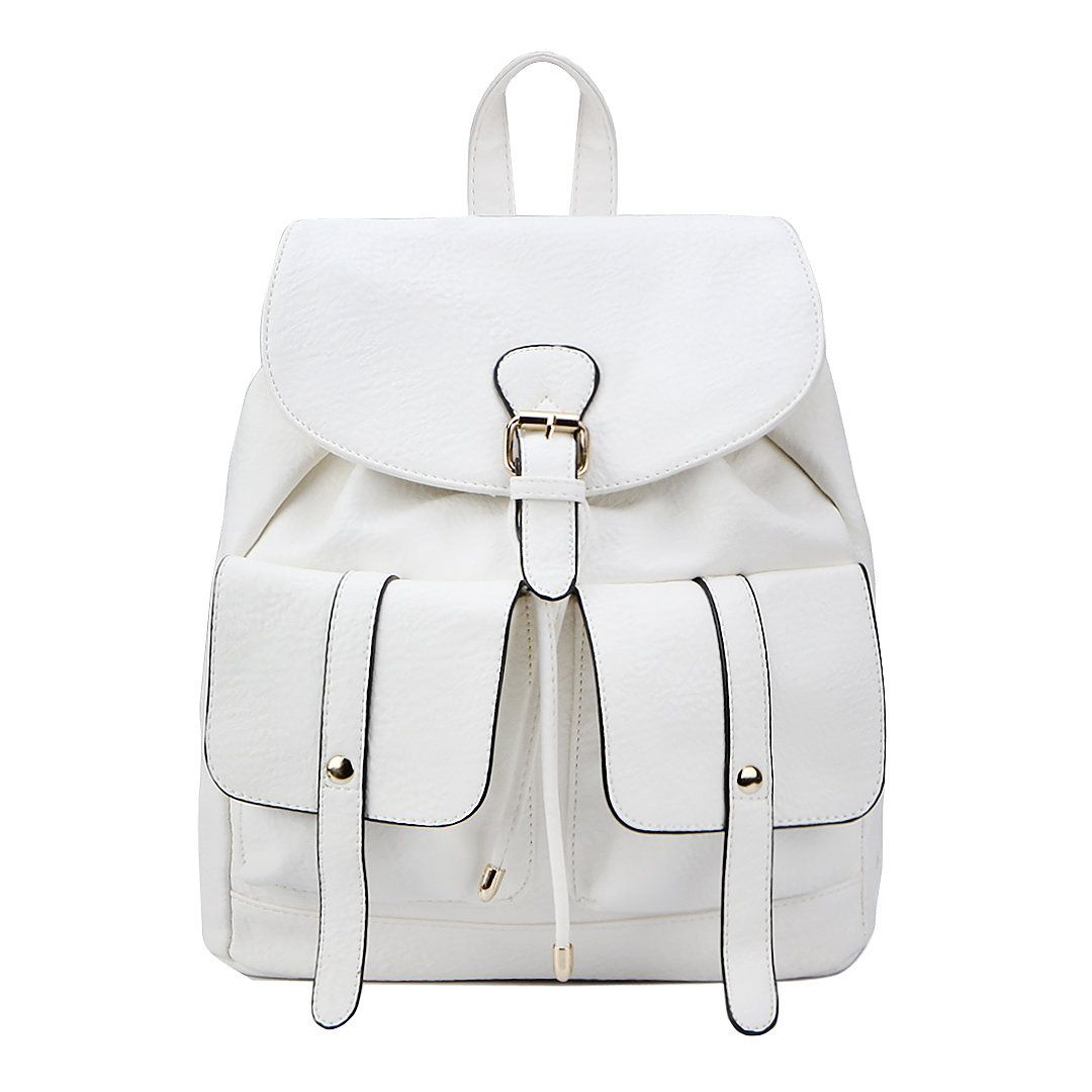 Two Front Pockets Leather-look Backpack in White - US 41.95 ... e40d383e019c4