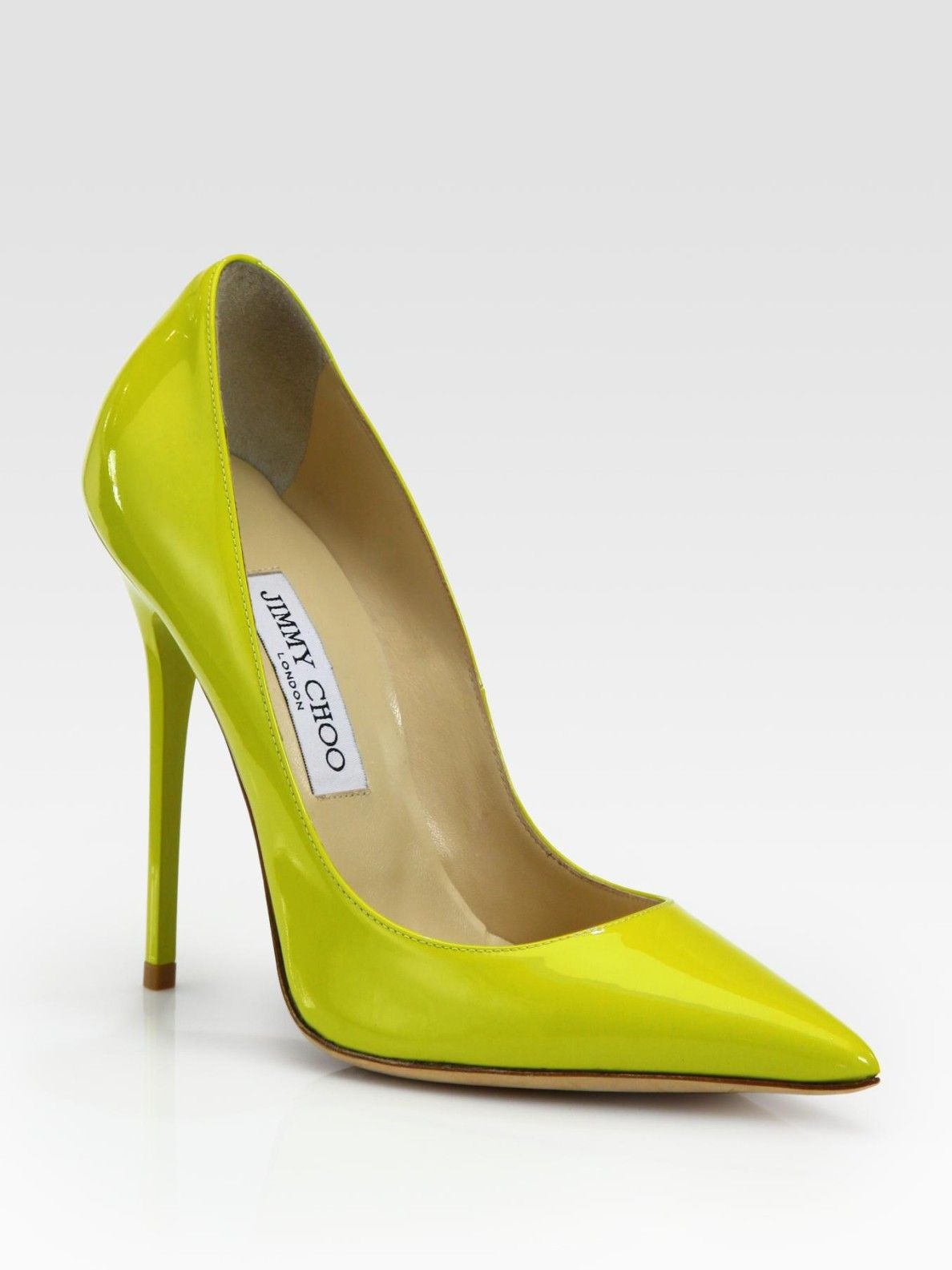 7e010f3e40de Jimmy Choo Anouk Patent Leather Pumps in Green (citrine)