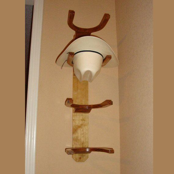 Wooden Cowboy Western Hat Rack 4 Hook Vertical Wall By Chawsra Diy Hat Rack Cowboy Hat Rack Hat Rack