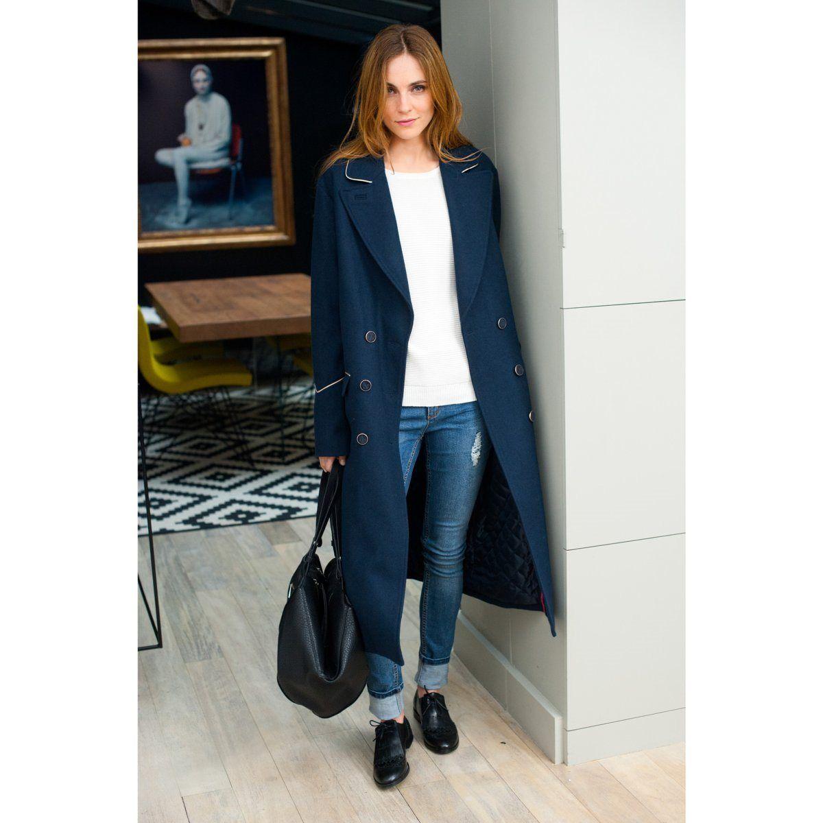Бушлат длинный, 60% шерсти Soft Grey | купить в интернет-магазине La Redoute