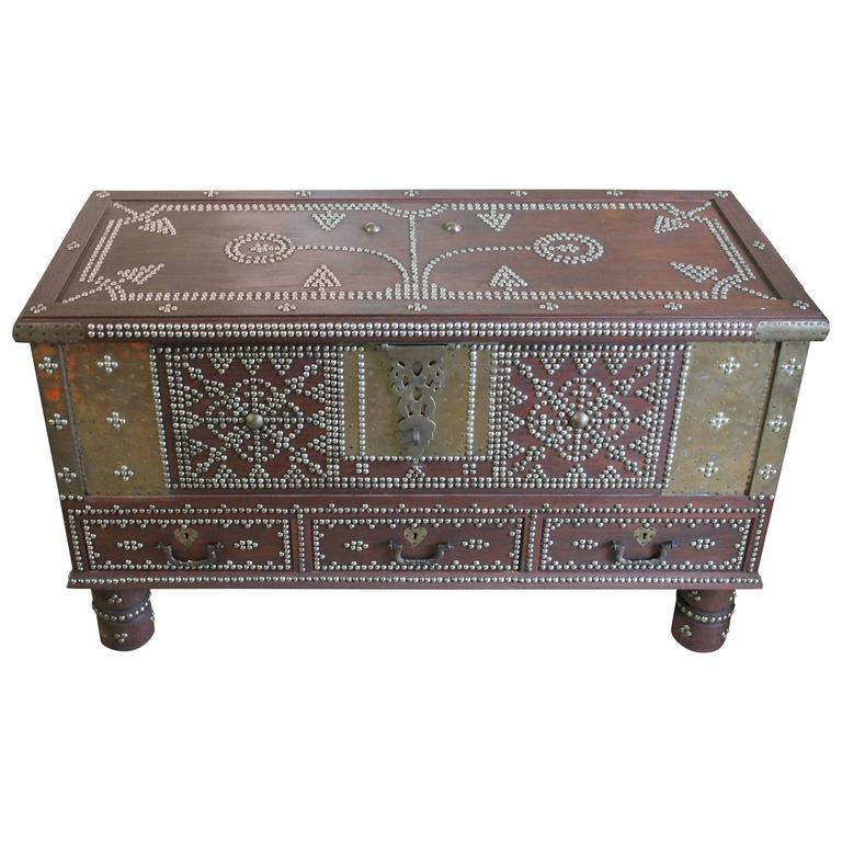Arab Wooden And Brass Studded Coffee Cocktail Table Trunk Or Chest From Zanzibar Wood Cocktail Table Home Accessories Stores Wooden Chest