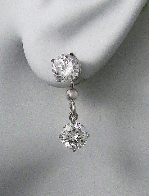 Earring Jackets For Studs 14k White Gold Dangling Jacket Post Diamond Round Cubic Zirconia Jdw6 5rcz