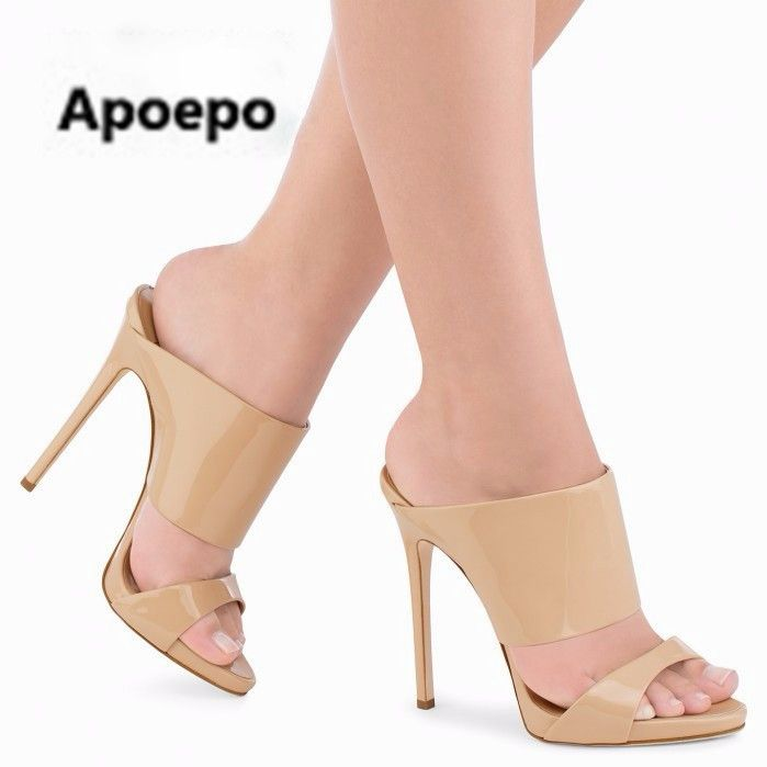 ouvert Nude Leather talons Sexy Apoepo à Chaussures pour bout femme Shoes Leather hauts 7Hnfwdq