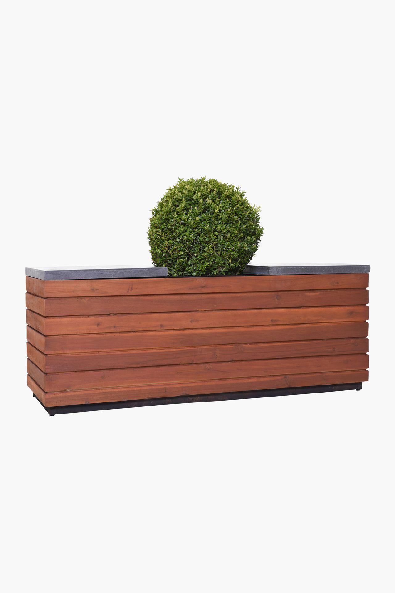Pflanzkubel Sitzbank Holz Akazie Fiberzement Escana Braun Eine