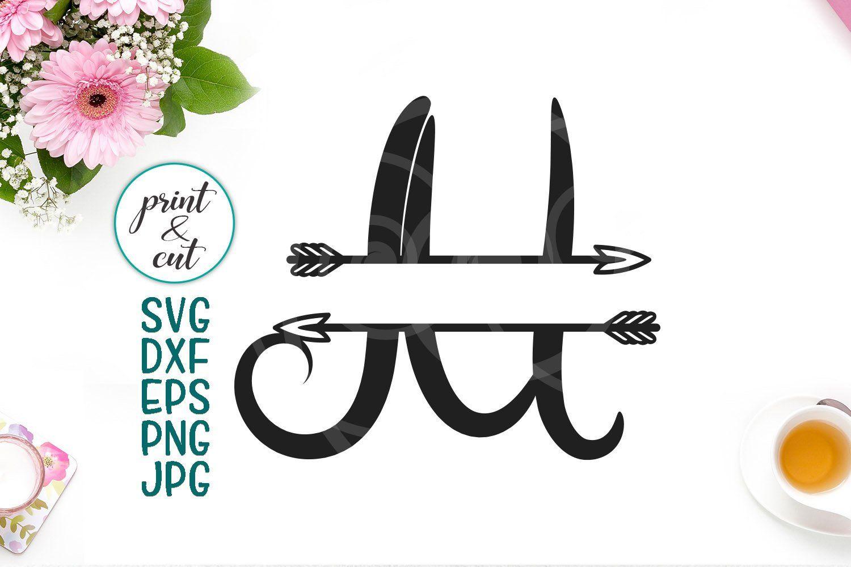 monogram letter M svg file, split font with arrows