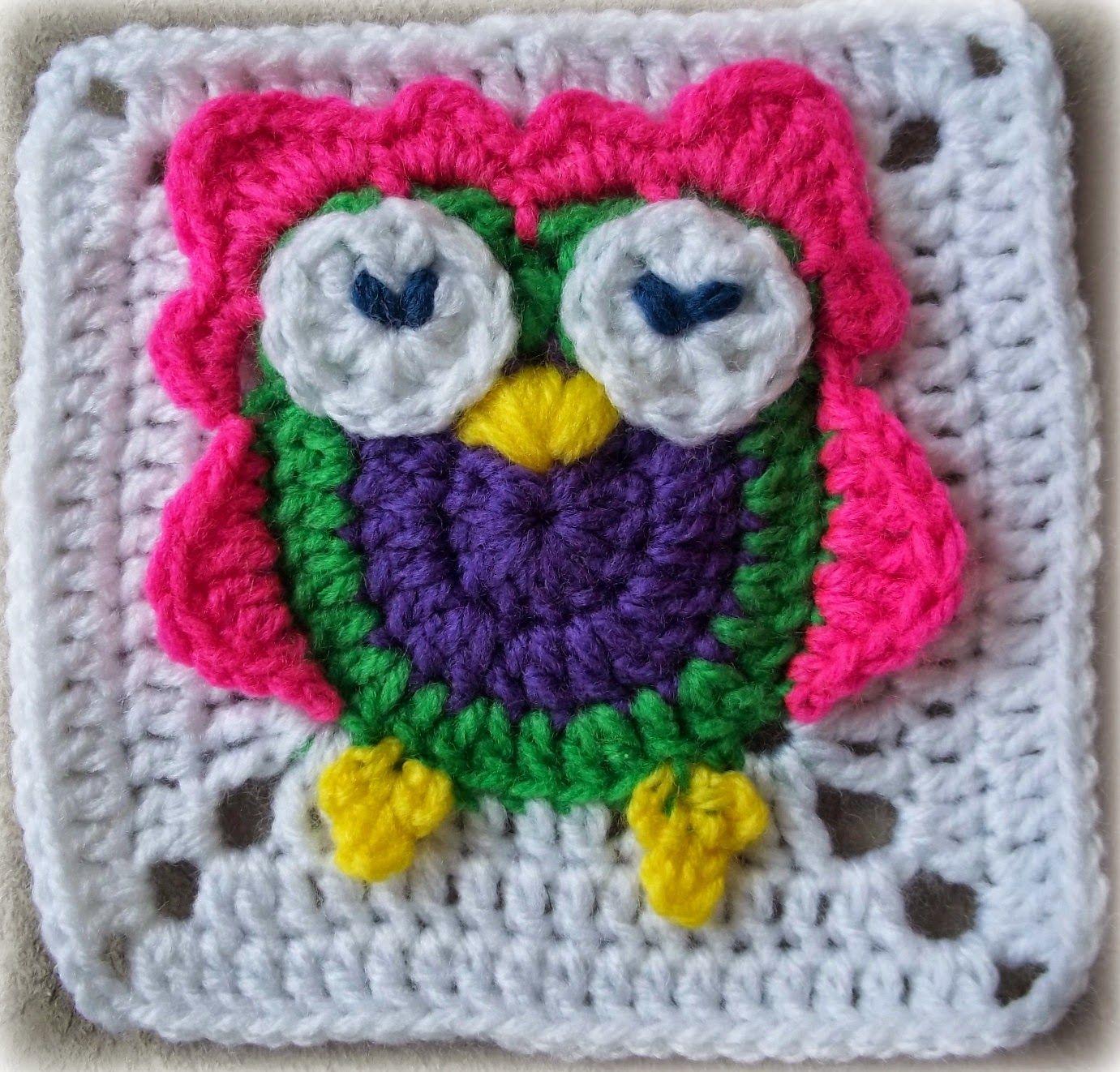 Zooty Owl Square: Baby Groovyghan CAL(5) | Eule, Decken und Häkeln