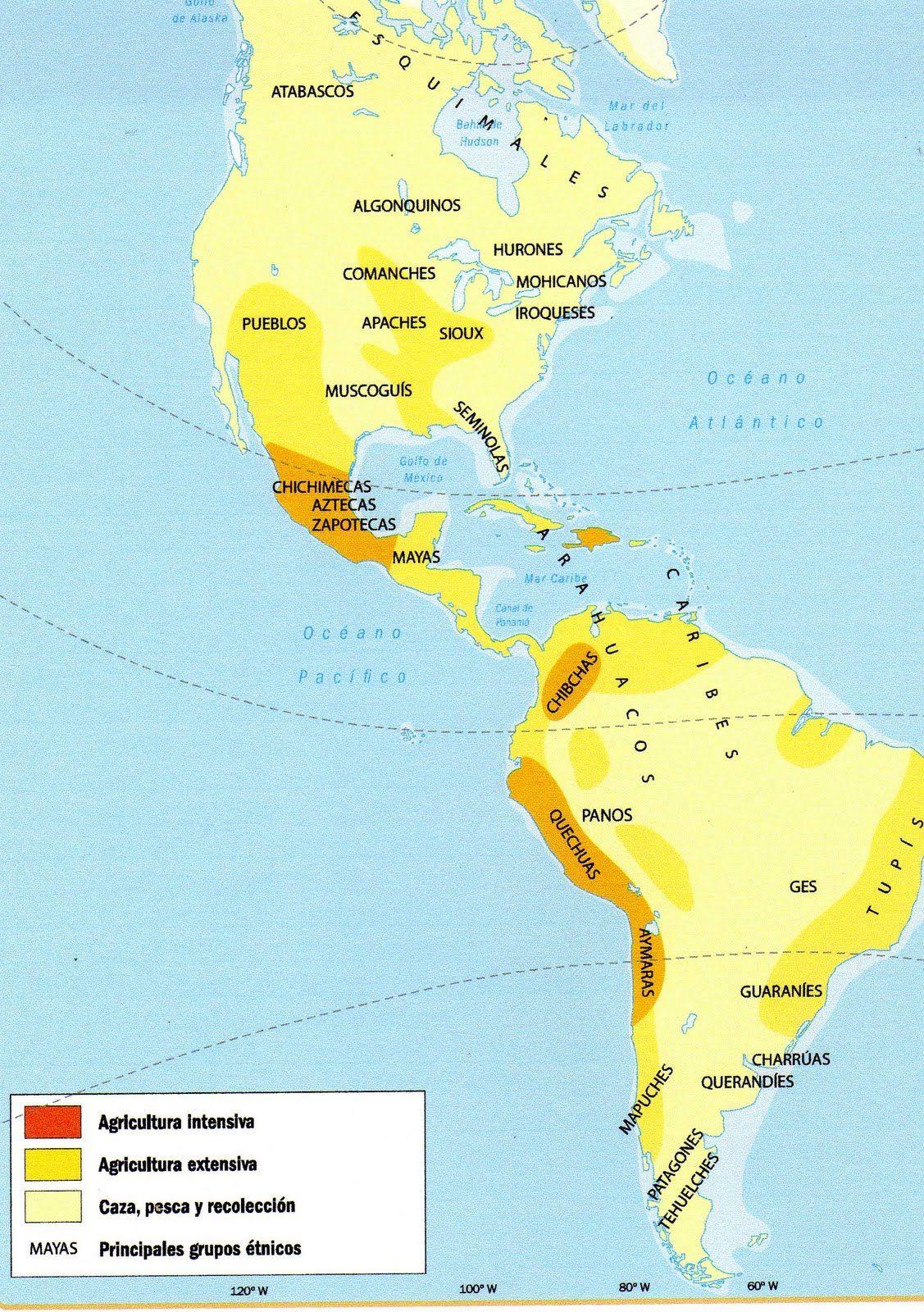 Resultado de imagen para mapa con los pueblo precolombinos de america