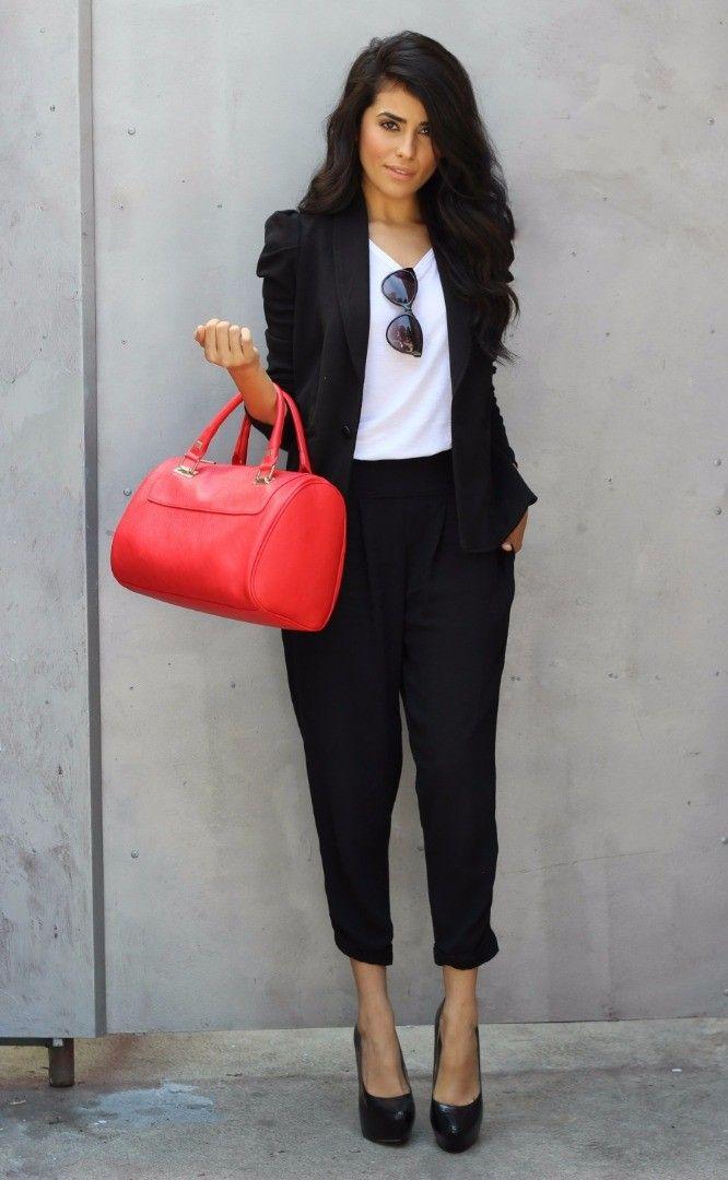 casual style cute black work suit + red heels