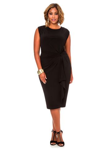 7391c5e36df Solid Knot Waist Dress Fashionable Plus Size Clothing