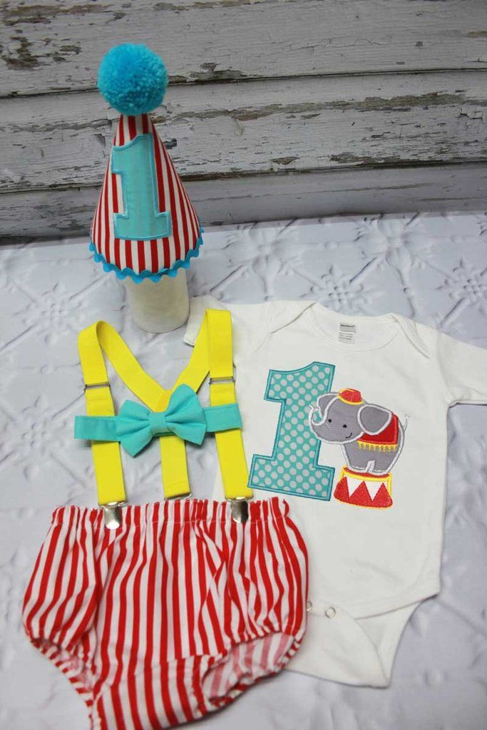 c940a493a This adorable circus elephant Cake Smash outfit will be perfect for a theme  birthday party. Onesie has circus elephant with aqua #1 Our cake smash  outfit ...