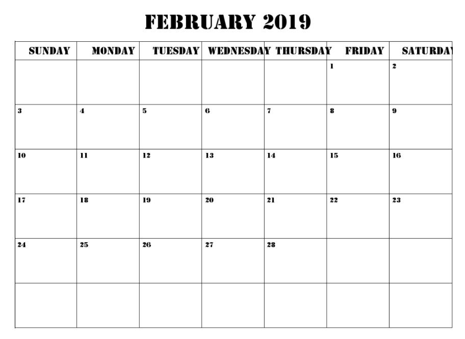 February 2019 Calendar Template Word #FebruaryCalendar