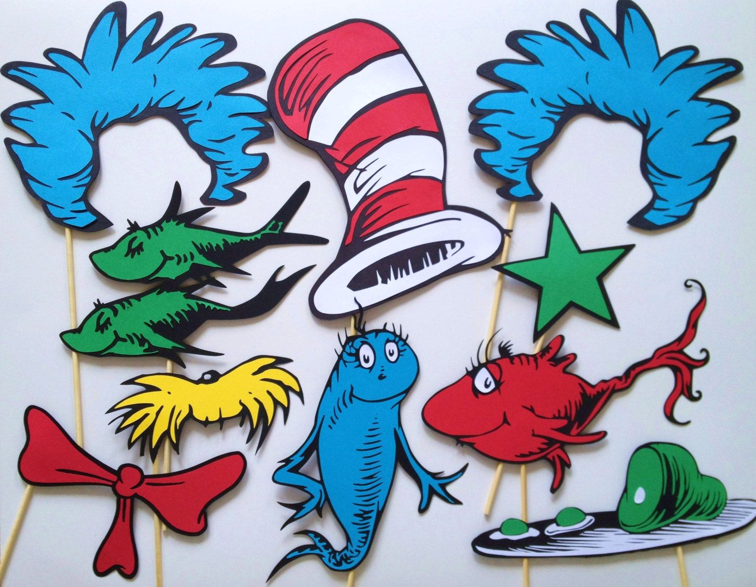 Printable Seussical Photo Props 12 Pieces By Clevermarten On Etsy 8 00 Dr Seuss Birthday Party Dr Seuss Baby Shower Dr Seuss Birthday
