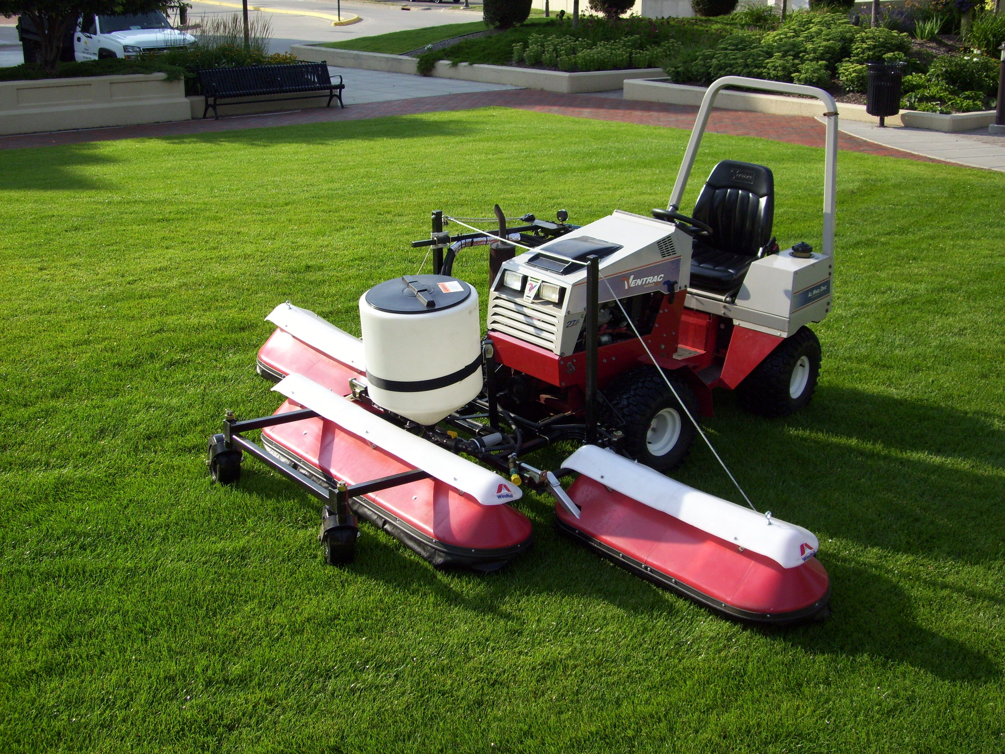 One of our Ventrac tractors equipped with a fertilizer