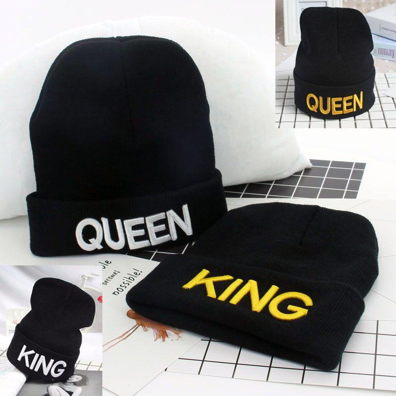 7e1b24a5329f King Queen Beanies Knit Cap Couple Winter Caps Skullies Bonnet Hats Women  Men