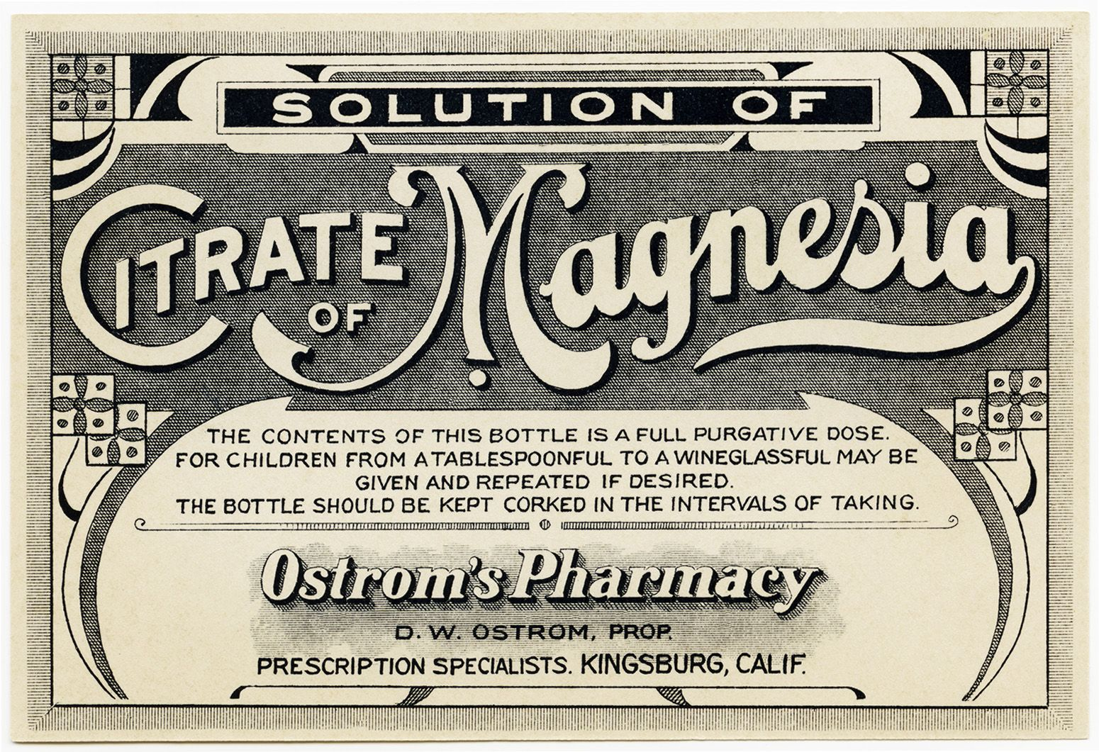 Lovely Free Printable Vintage Medicine Labels | citrate of magnesia label  IL66