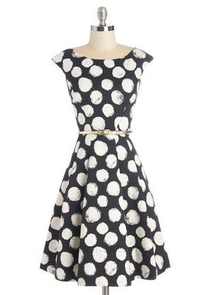 816e089ba8a Eliza J Polka Dot Faille Fit   Flare Dress - Celebrities who wear ...
