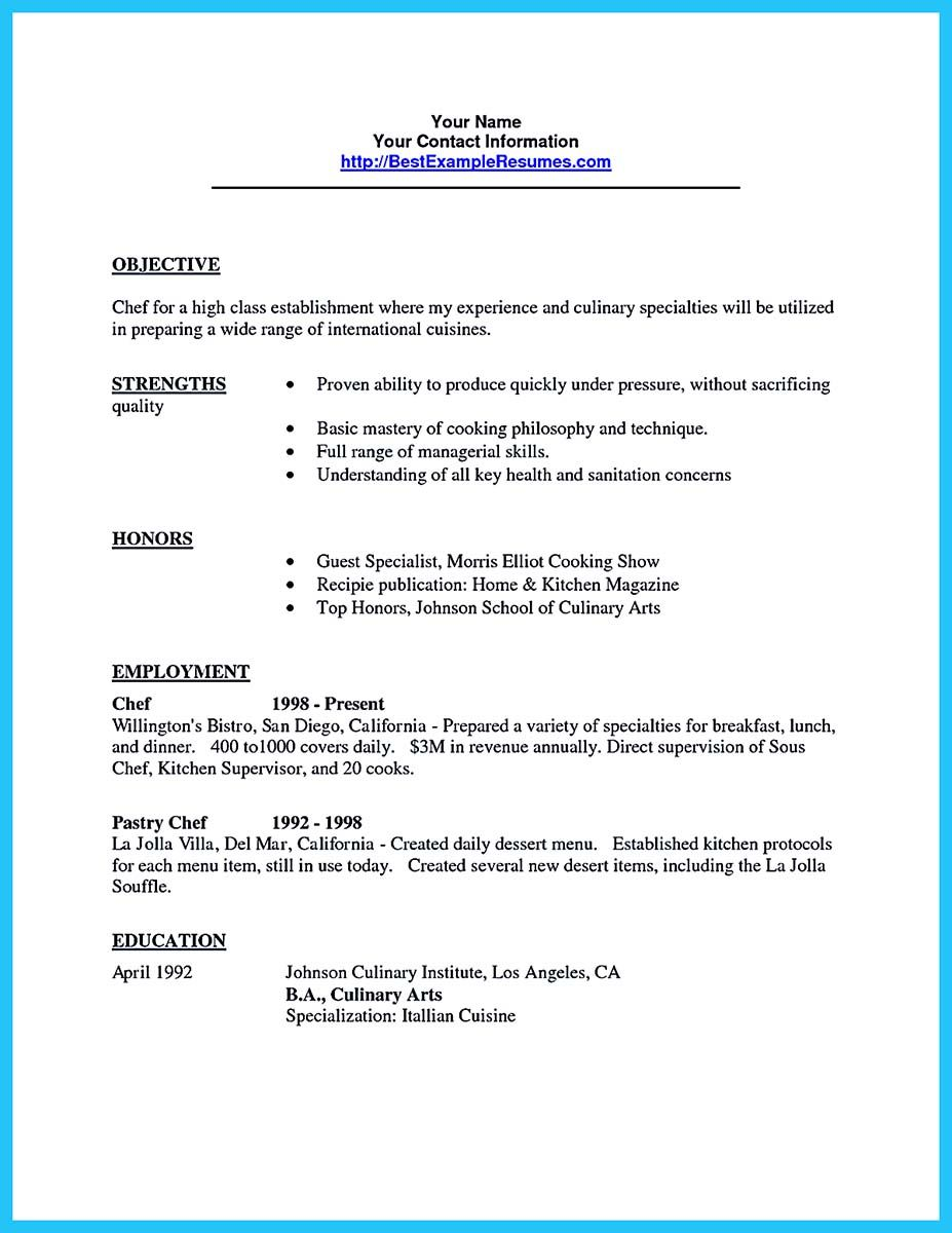 Awesome Excellent Culinary Resume Samples To Help You Approved Check More At Http Snef Resume Objective Examples Mechanical Engineer Resume Resume Objective