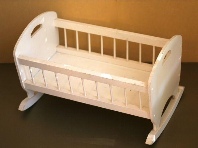 White Wooden Doll Crib Rocker newborn photo prop Diy