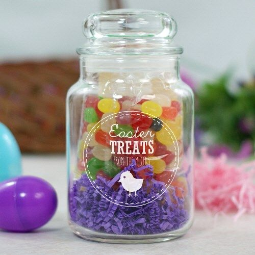 Candy Jar Decorations Engraved Easter Treats Glass Candy Jar  Easter Kids & Baby