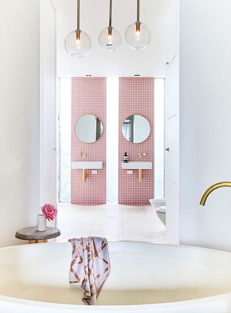 A Gorgeous Pink-Tiled Bathroom with Gold Hardware | Pink tile ...