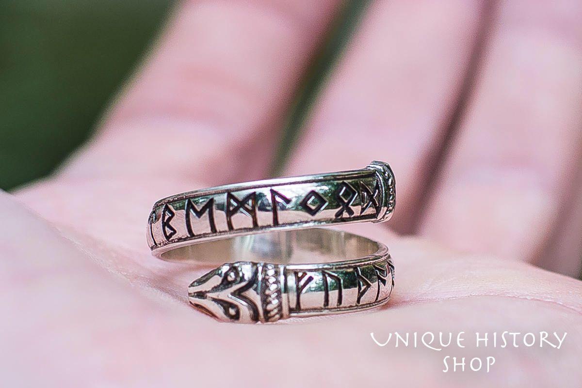 Jormungand Ring with Runes Handmade Ouroboros Viking Ring Sterling ...