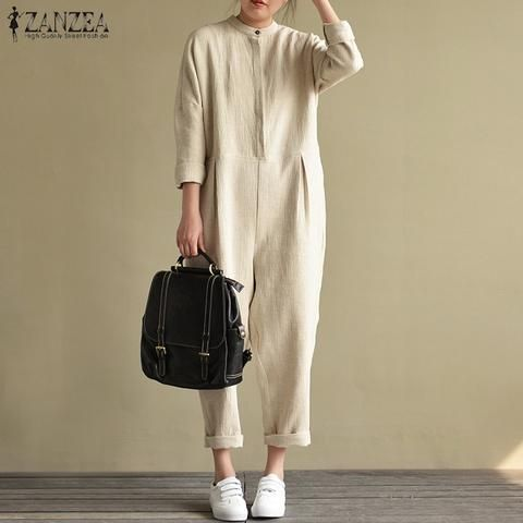 9039fbf8dd1 2018 ZANZEA Vintage Women Casual Solid Stand Collar Long Sleeve Pockets Cotton  Linen Loose Party Jumpsuits Rompers Work Overalls
