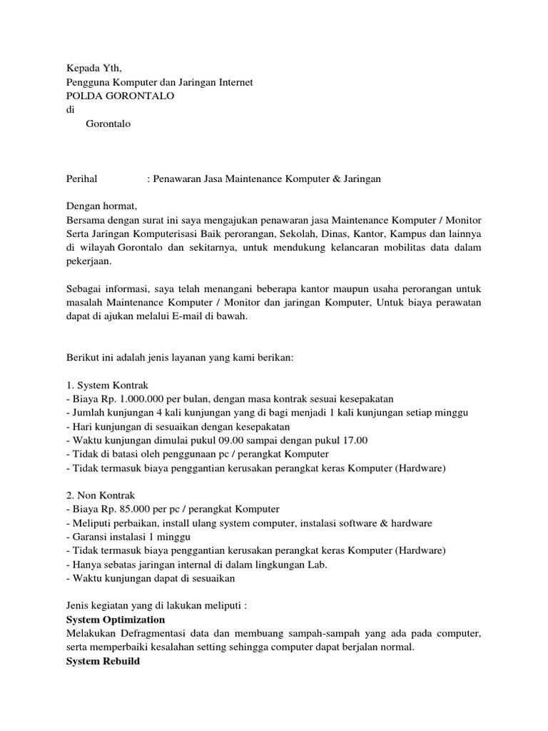 10 Contoh Surat Penawaran Kerjasama Surat Gagasan Jaringan Komputer