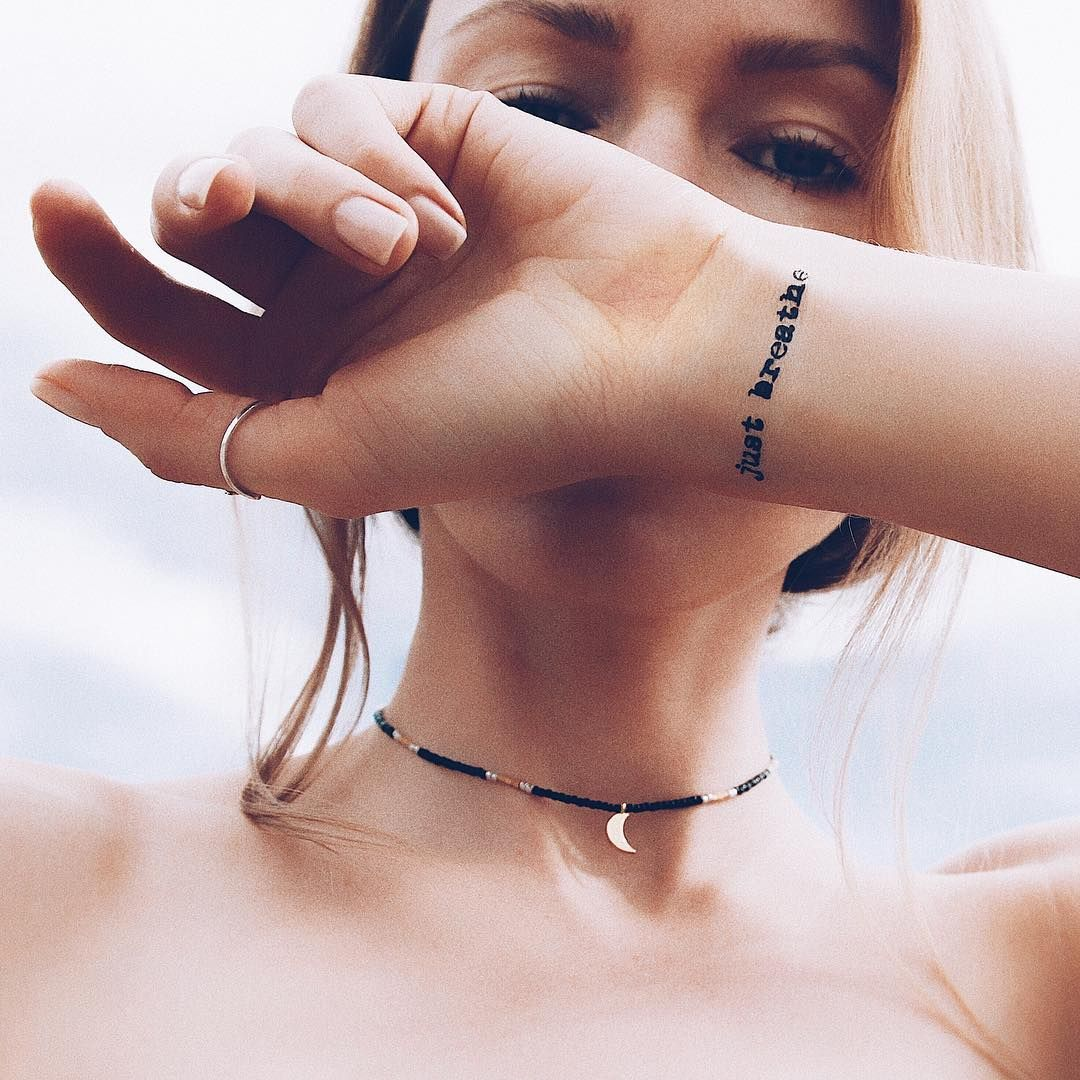 Just Breathe Lettering Tattoo On Wrist: Word Tattoos, Wrist