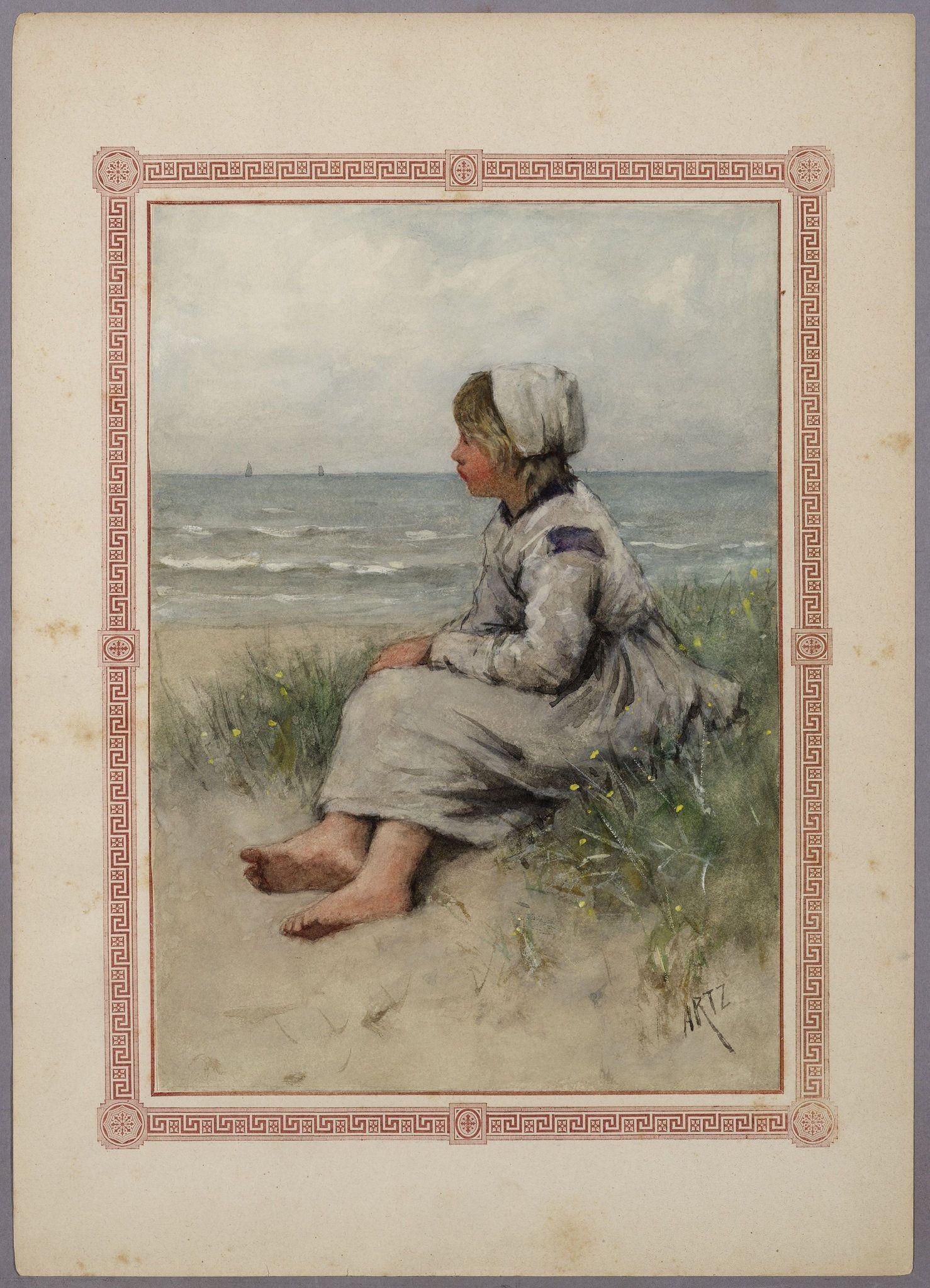 Een meisje kijkt uit over de #zee. Tekening uit het Album Amicorum van Bosboom-Toussaint. Alle foto's: https://www.flickr.com/photos/public-domain-archief-alkmaar/albums/72157659987270548