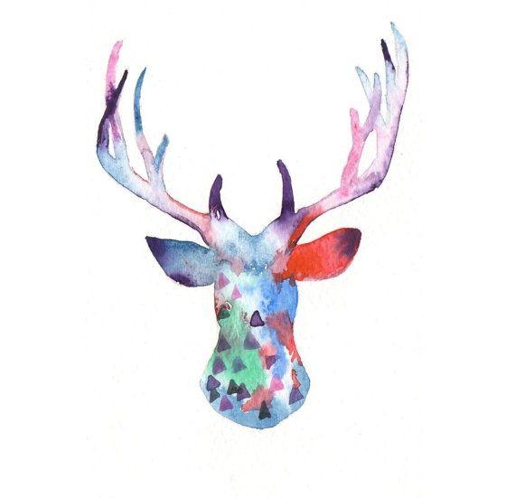 Original Watercolor Christmas Card Reindeer By Milkfoam On Etsy