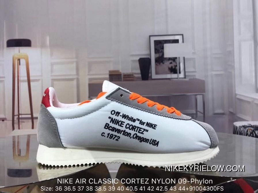 0172a86388f4 Off-White X Nike Air Classic Cortez Nylon 09-Phylon Unisex Shoe 888295-005  White Red Grey Sports Shoes New Style