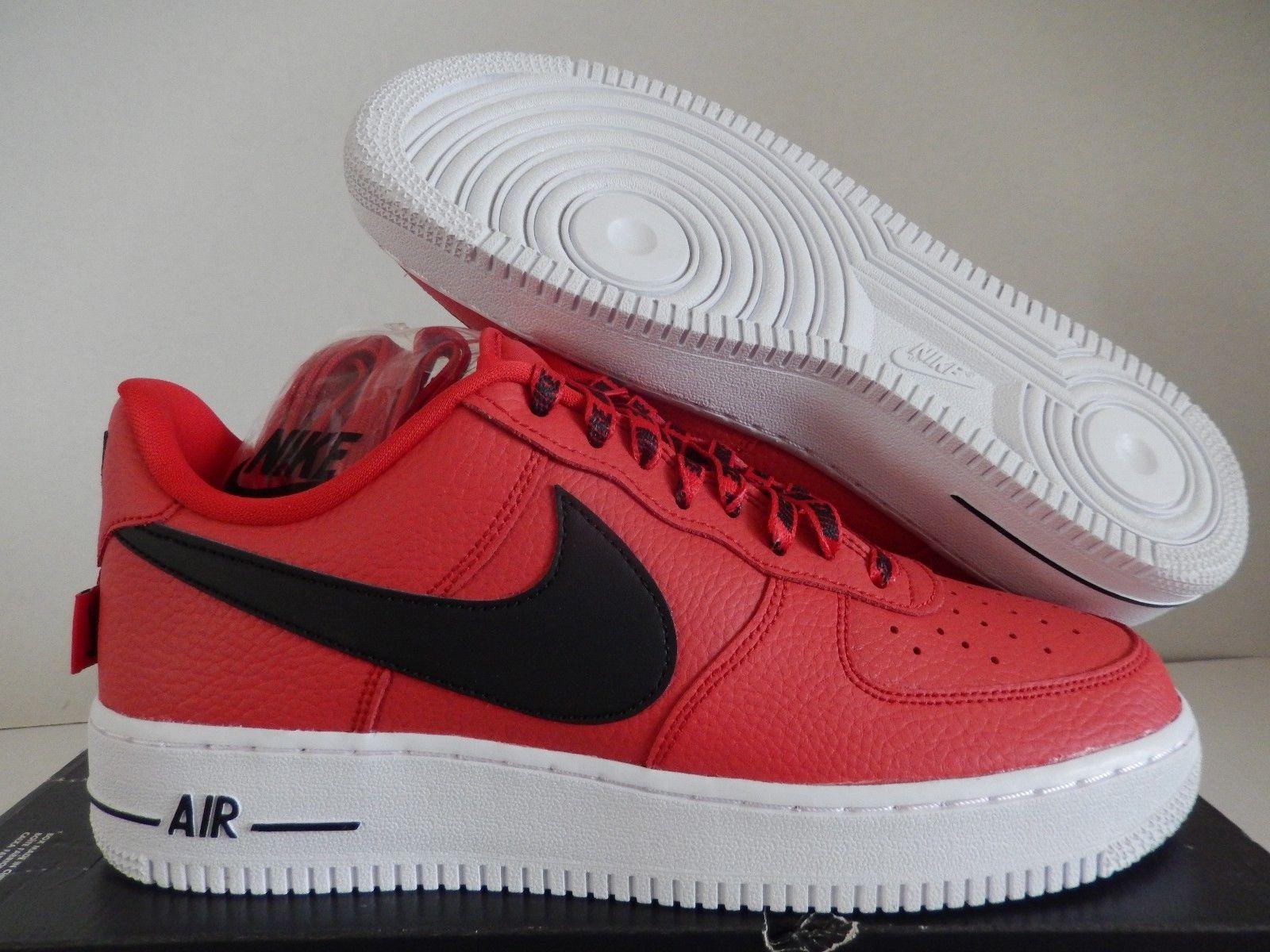 new product f9b69 cc2e1 NIKE NBA AIR FORCE 1 07 LV8 UNI RED BLACK WHITE MEN SNEAKER 823511 604