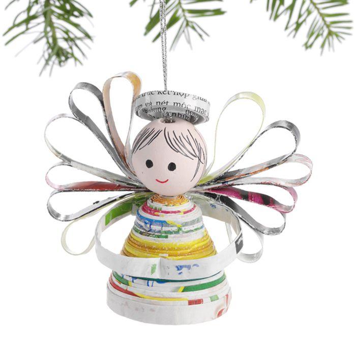 Happy Angel Recycled Magazine Ornament Cosas Navidad Pinterest