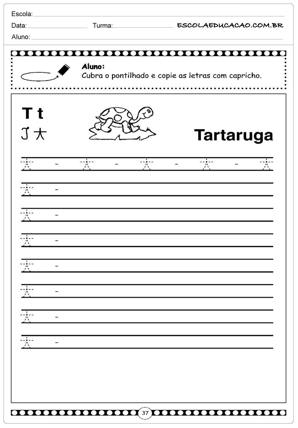 Atividade Letra T Tartaruga Em 2020 Atividades Letra E