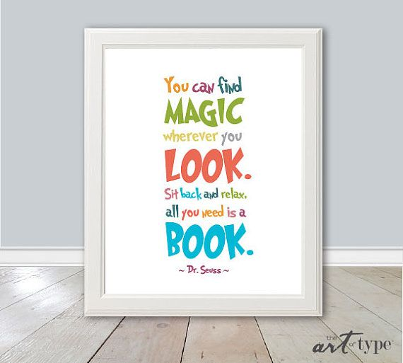 Dr Seuss Reading Print Instant Download 8x10 By Theartoftype 6 50 Diy Prints Quote Prints Childrens Wall Art