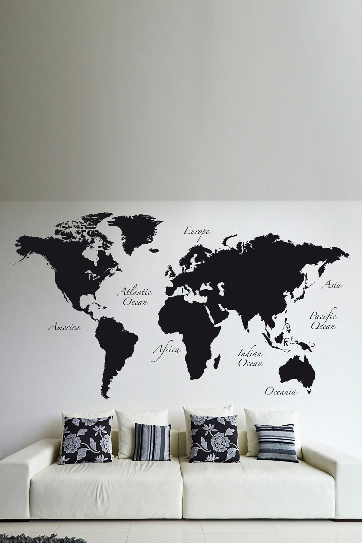 Best Black World Map Wall Decal By Brewster Home Fashions On 640 x 480
