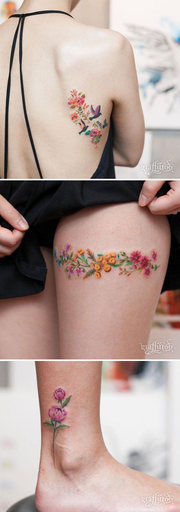 Kadınlar için 15 farklı çiçek desenli dövme modeli / Mehtap Kaya #kadınlariçindövmeler