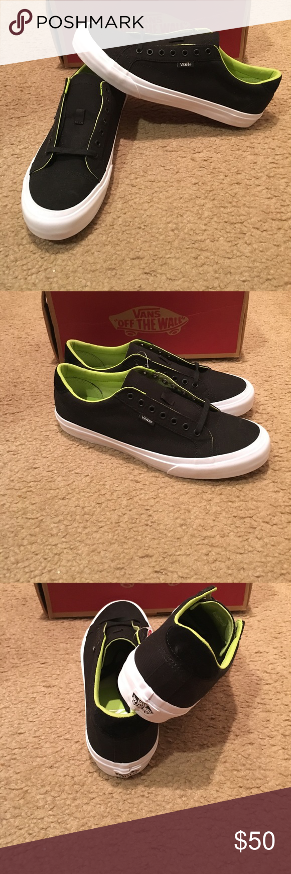 4a65b9556b28 Court Canvas Vans New in box. Black green glow Vans Shoes Sneakers